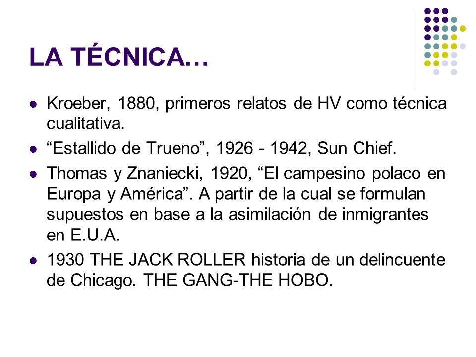 LA TÉCNICA… Kroeber, 1880, primeros relatos de HV como técnica cualitativa. Estallido de Trueno , 1926 - 1942, Sun Chief.