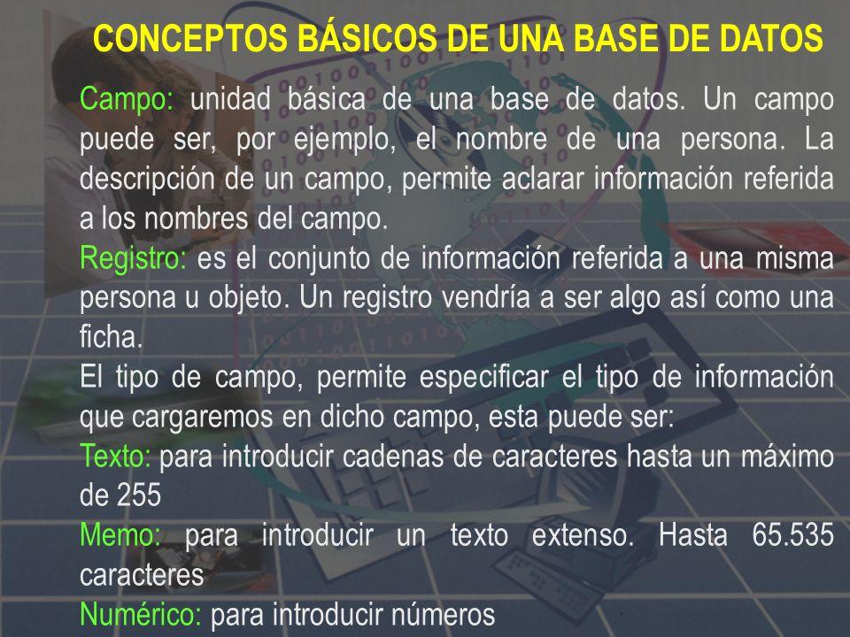 CONCEPTOS BÁSICOS DE UNA BASE DE DATOS