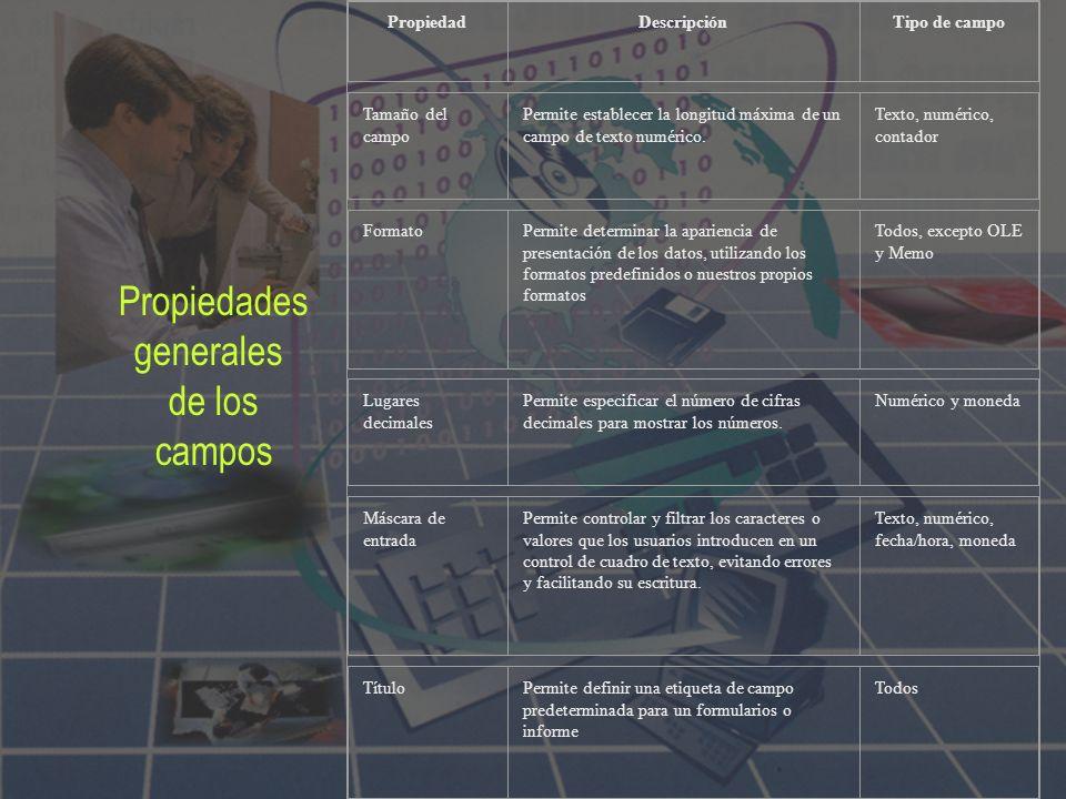 Propiedades generales de los campos Propiedad Descripción