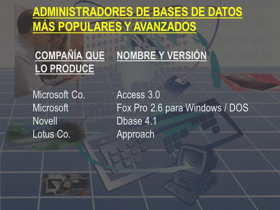 ADMINISTRADORES DE BASES DE DATOS MÁS POPULARES Y AVANZADOS