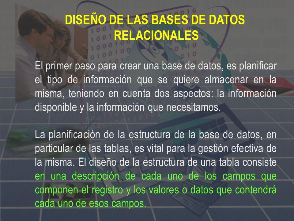 DISEÑO DE LAS BASES DE DATOS