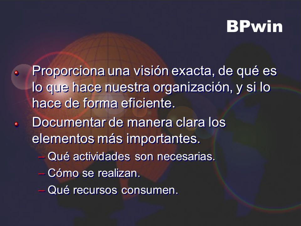 BPwin Proporciona una visión exacta, de qué es lo que hace nuestra organización, y si lo hace de forma eficiente.