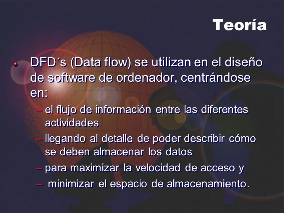 Teoría DFD´s (Data flow) se utilizan en el diseño de software de ordenador, centrándose en: el flujo de información entre las diferentes actividades.