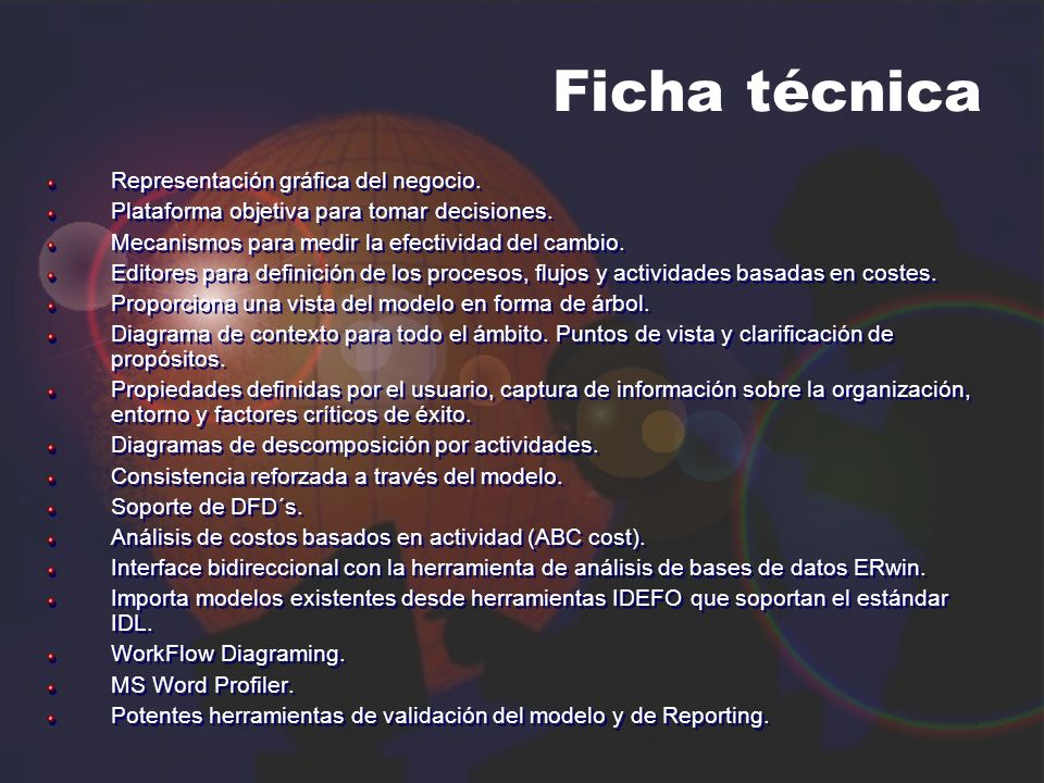 Ficha técnica Representación gráfica del negocio.