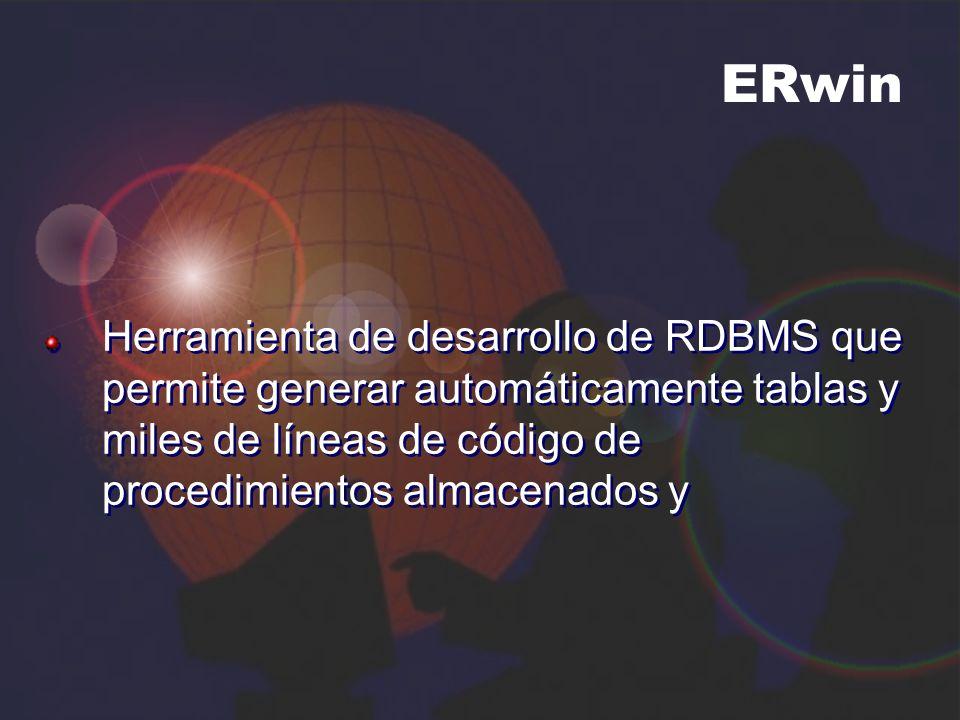 ERwin Herramienta de desarrollo de RDBMS que permite generar automáticamente tablas y miles de líneas de código de procedimientos almacenados y.