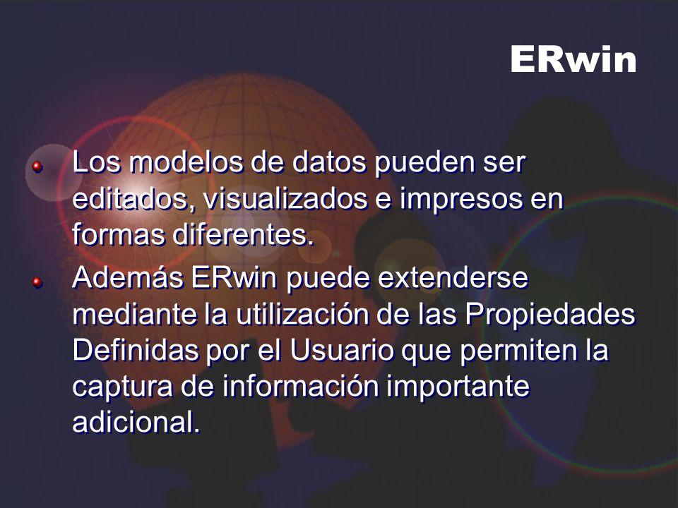ERwin Los modelos de datos pueden ser editados, visualizados e impresos en formas diferentes.