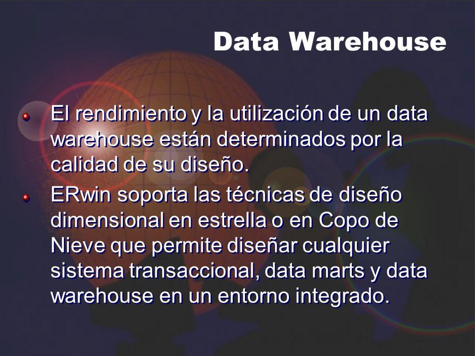 Data Warehouse El rendimiento y la utilización de un data warehouse están determinados por la calidad de su diseño.