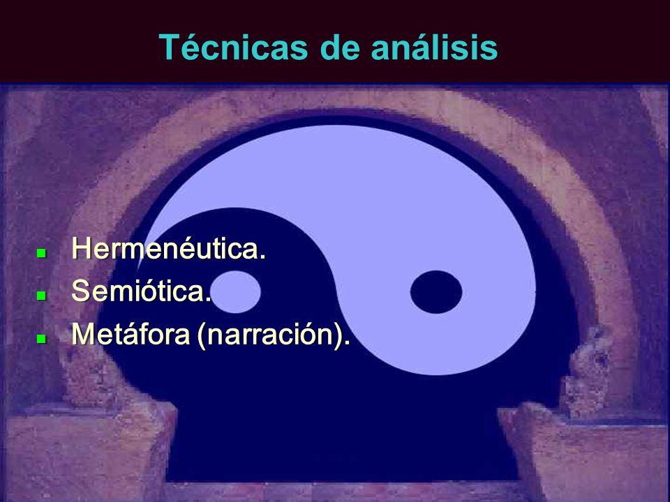 Técnicas de análisis Hermenéutica. Semiótica. Metáfora (narración).