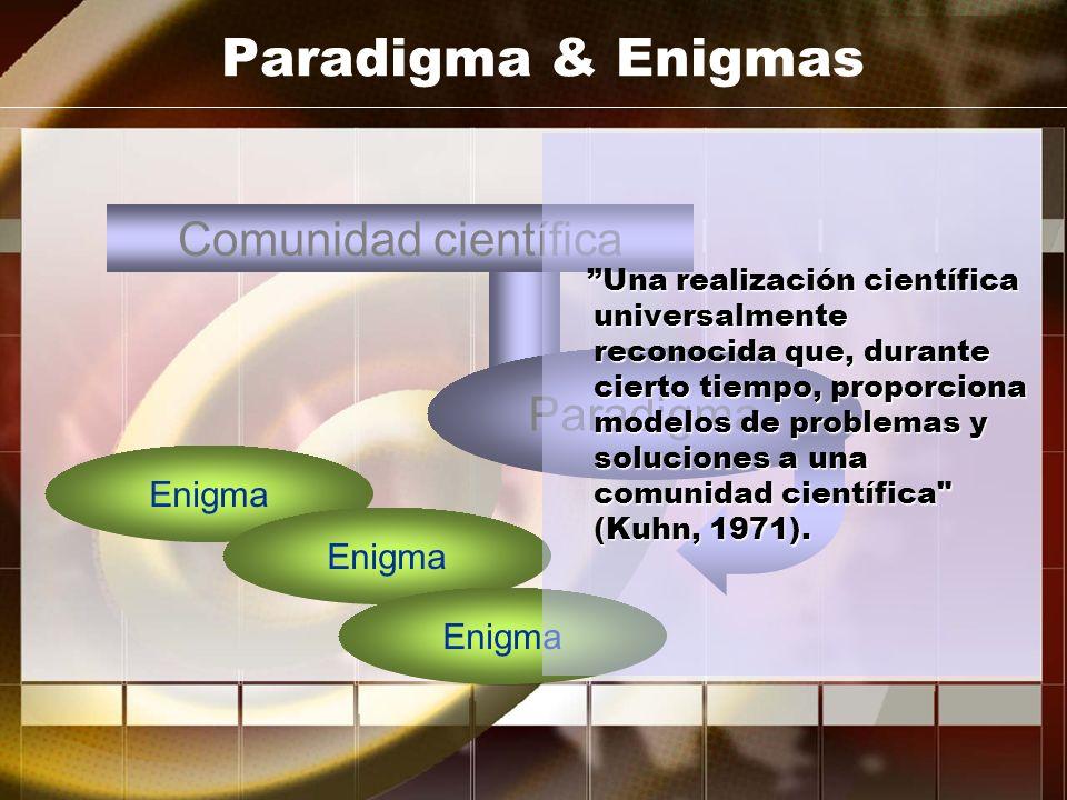 Paradigma & Enigmas Comunidad científica Paradigma Enigma Enigma