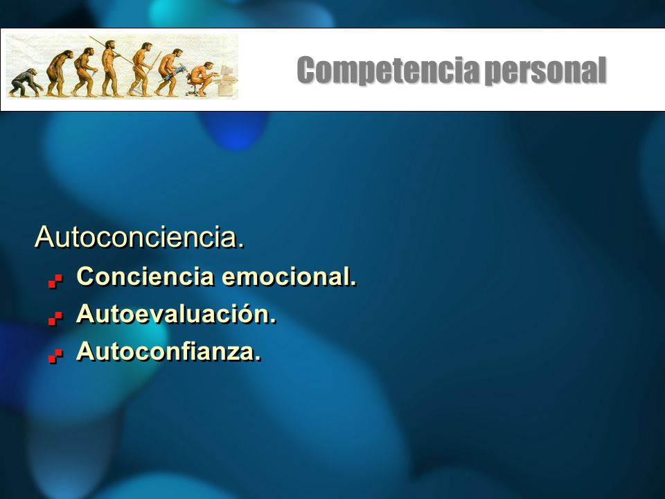 Competencia personal Autoconciencia. Conciencia emocional.