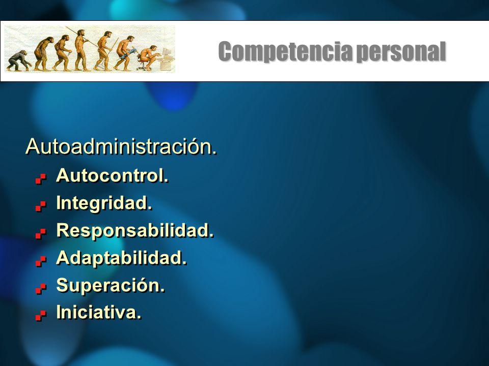 Competencia personal Autoadministración. Autocontrol. Integridad.