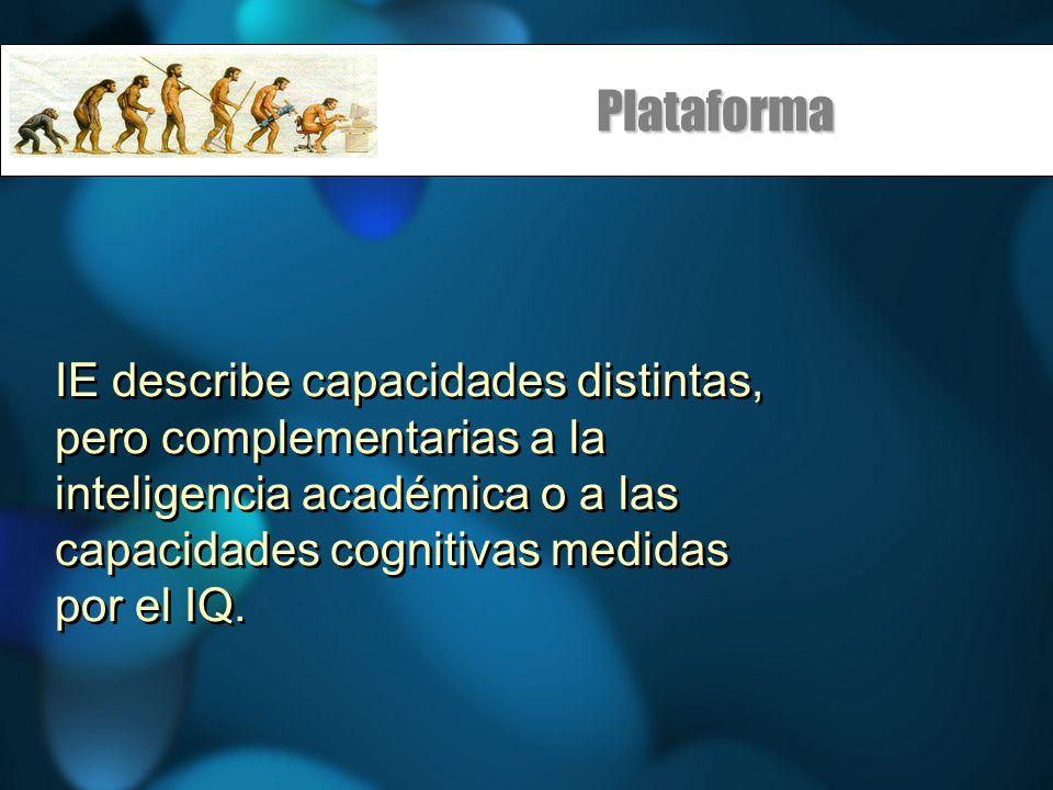 Plataforma IE describe capacidades distintas, pero complementarias a la inteligencia académica o a las capacidades cognitivas medidas por el IQ.