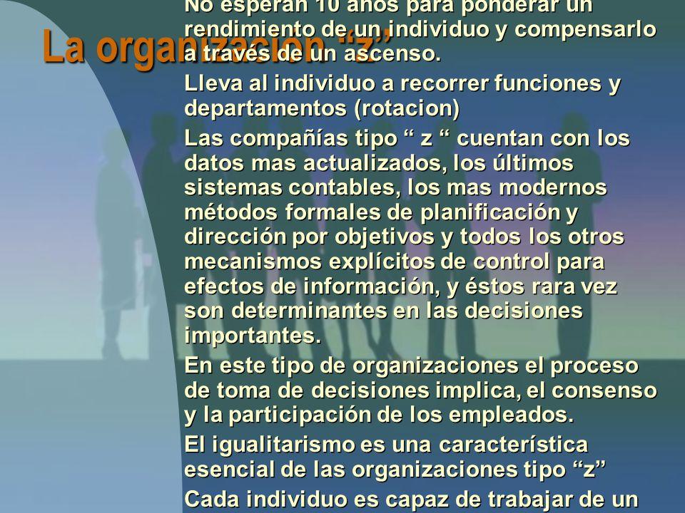 La organización z Ofrece empleos por periodos largos, frecuentemente de por vida.