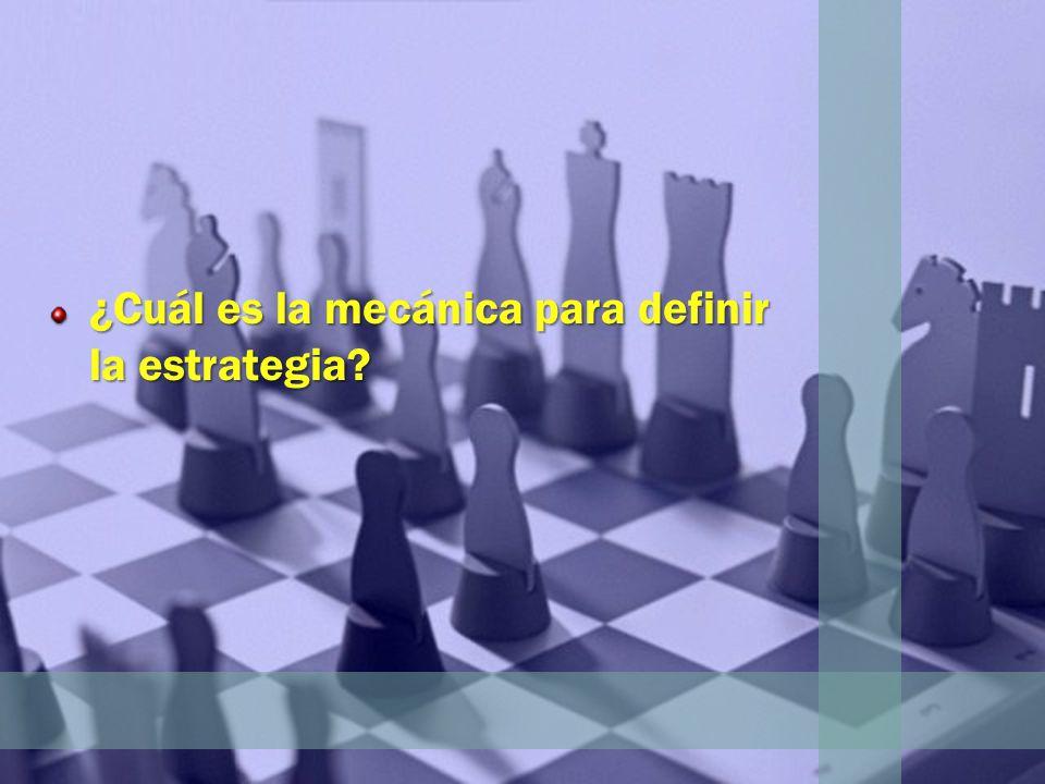 ¿Cuál es la mecánica para definir la estrategia