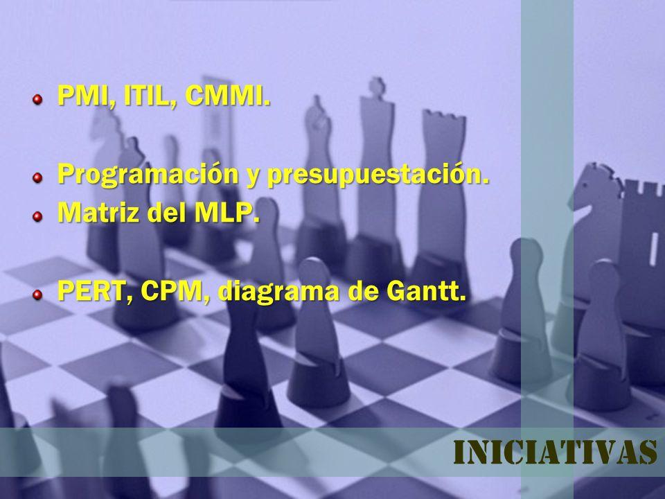 Iniciativas PMI, ITIL, CMMI. Programación y presupuestación.