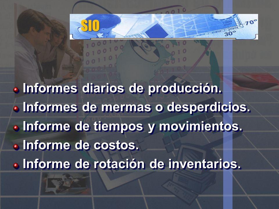 SIO Informes diarios de producción. Informes de mermas o desperdicios.