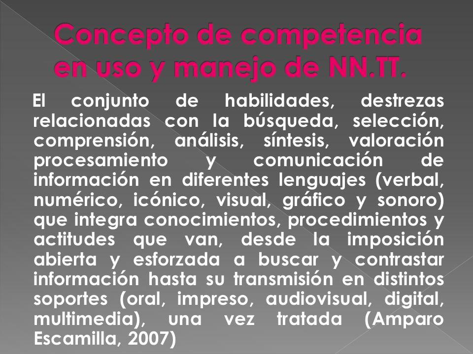 Concepto de competencia en uso y manejo de NN.TT.