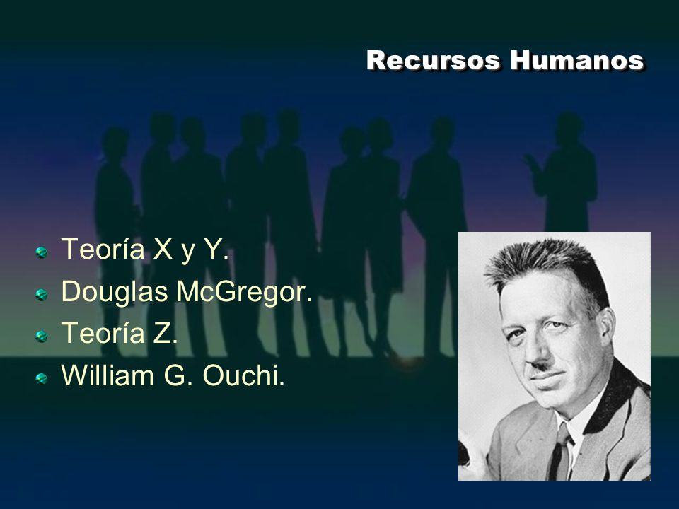 Teoría X y Y. Douglas McGregor. Teoría Z. William G. Ouchi.