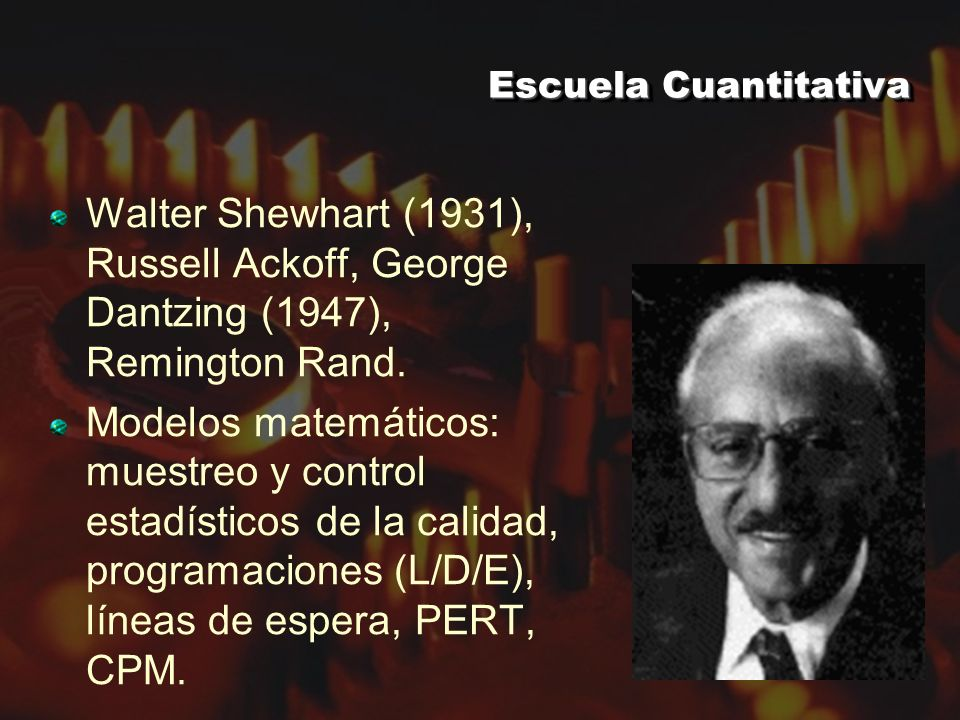 Escuela Cuantitativa Walter Shewhart (1931), Russell Ackoff, George Dantzing (1947), Remington Rand.