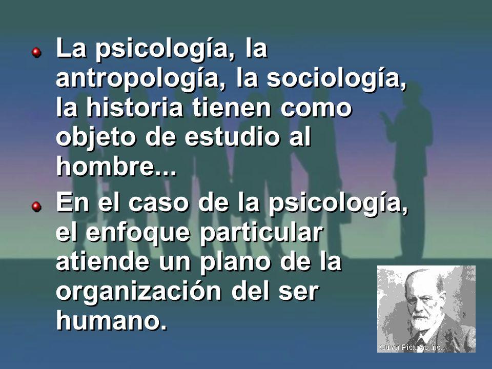 La psicología, la antropología, la sociología, la historia tienen como objeto de estudio al hombre...