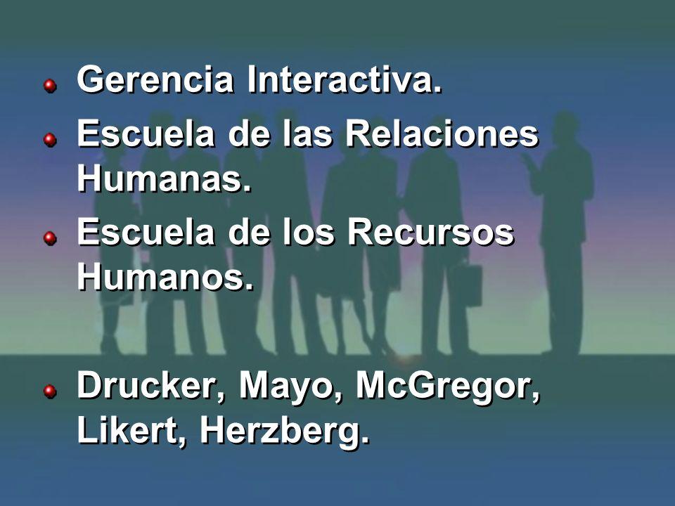 Gerencia Interactiva. Escuela de las Relaciones Humanas.