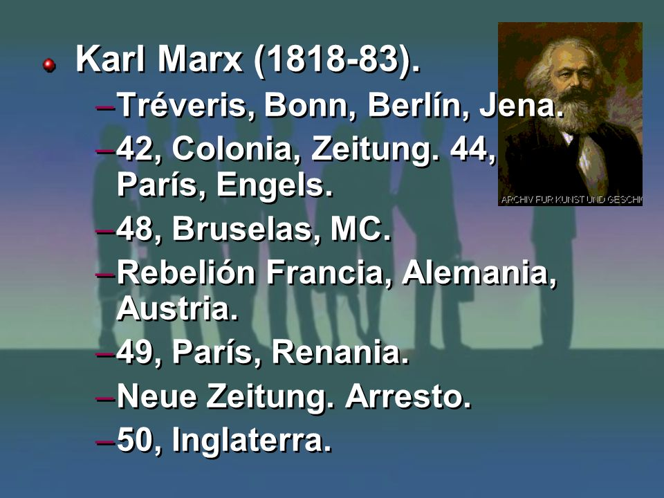 Karl Marx (1818-83). Tréveris, Bonn, Berlín, Jena.