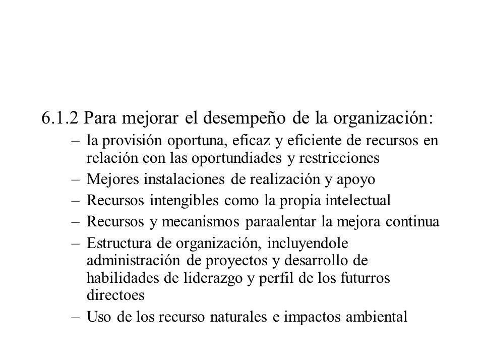 6.1.2 Para mejorar el desempeño de la organización:
