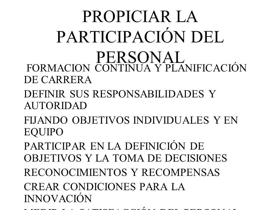 PROPICIAR LA PARTICIPACIÓN DEL PERSONAL