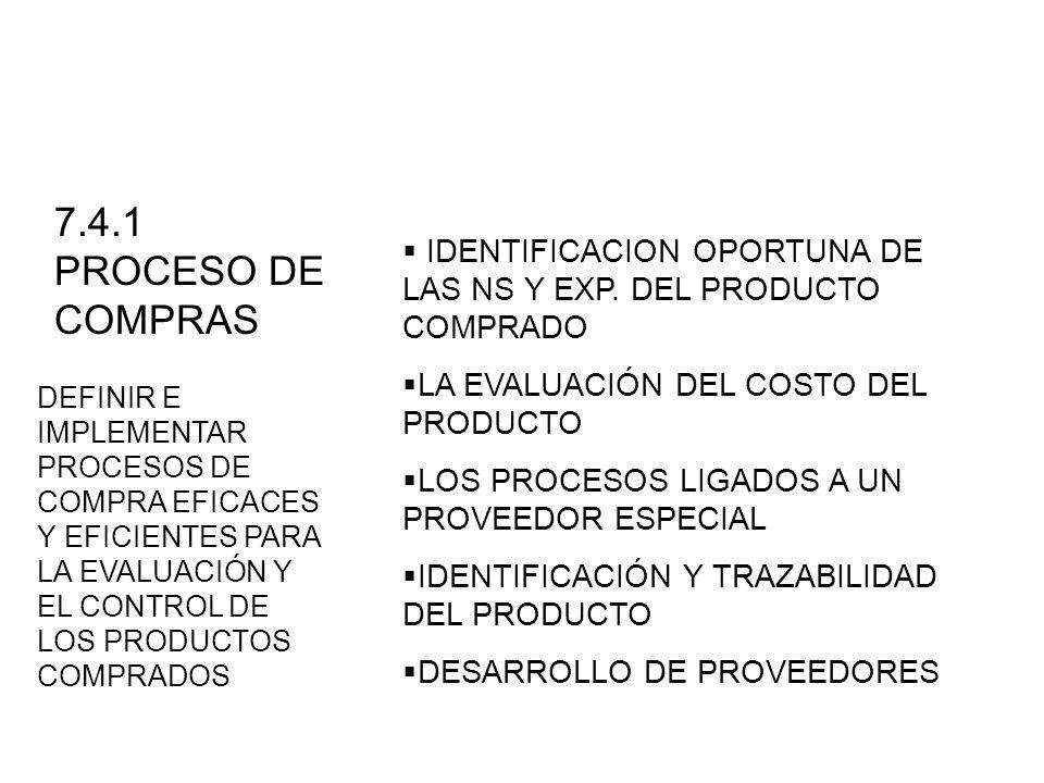 7.4.1 PROCESO DE COMPRASIDENTIFICACION OPORTUNA DE LAS NS Y EXP. DEL PRODUCTO COMPRADO. LA EVALUACIÓN DEL COSTO DEL PRODUCTO.