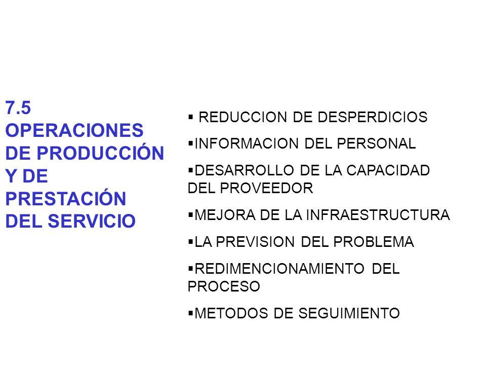 7.5 OPERACIONES DE PRODUCCIÓN Y DE PRESTACIÓN DEL SERVICIO