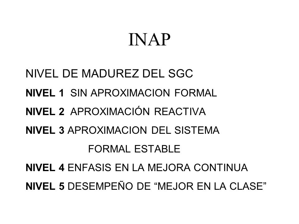 INAP NIVEL DE MADUREZ DEL SGC NIVEL 1 SIN APROXIMACION FORMAL