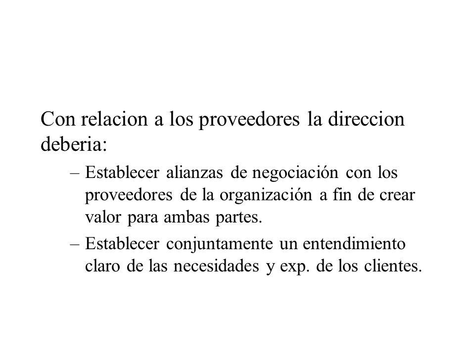 Con relacion a los proveedores la direccion deberia: