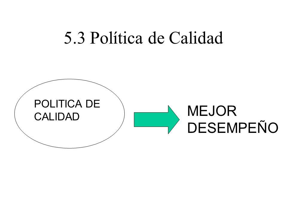 5.3 Política de Calidad POLITICA DE CALIDAD MEJOR DESEMPEÑO