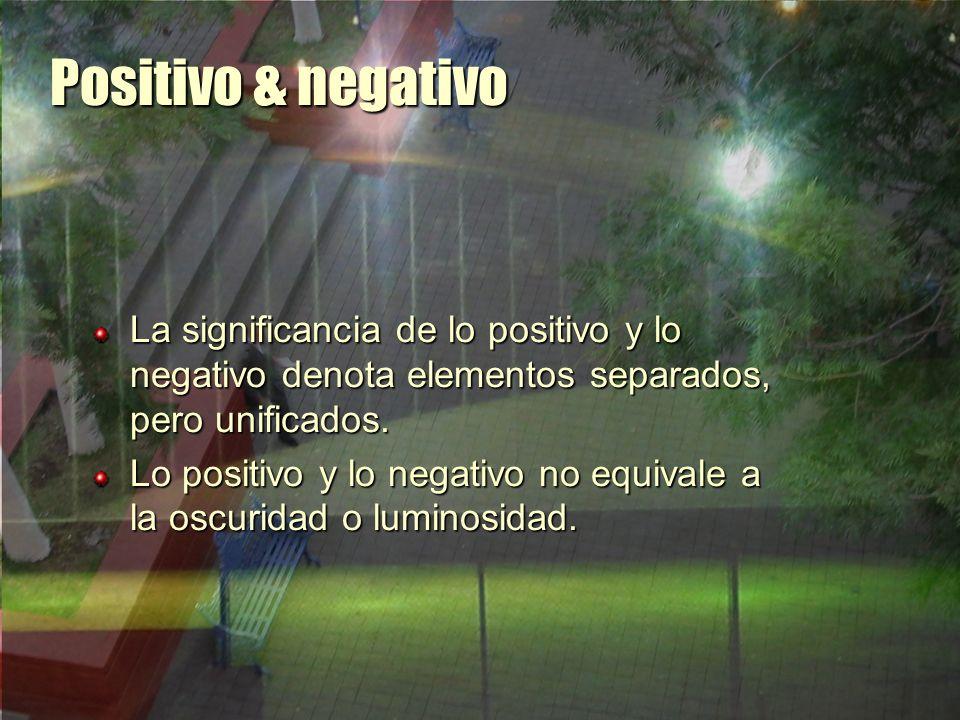 Positivo & negativo La significancia de lo positivo y lo negativo denota elementos separados, pero unificados.