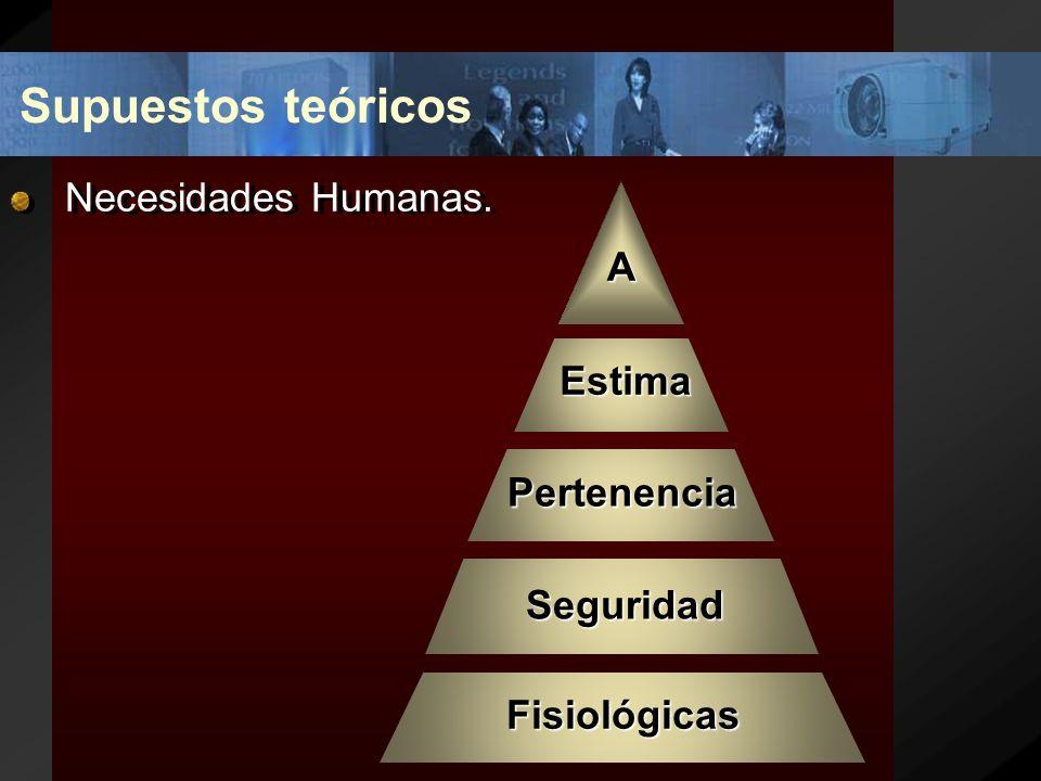 Supuestos teóricos Necesidades Humanas. A Estima Pertenencia Seguridad