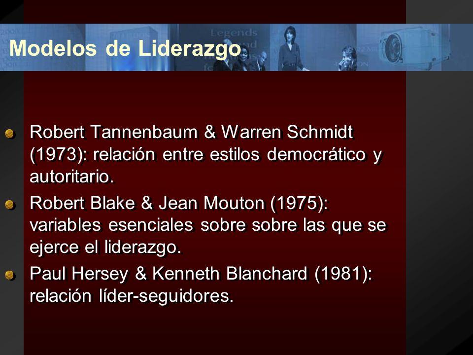 Modelos de Liderazgo Robert Tannenbaum & Warren Schmidt (1973): relación entre estilos democrático y autoritario.