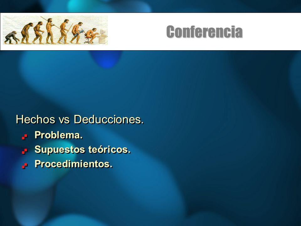 Conferencia Hechos vs Deducciones. Problema. Supuestos teóricos.
