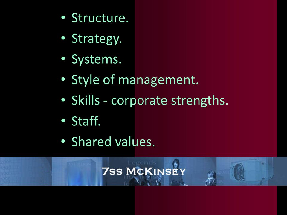 Skills - corporate strengths. Staff. Shared values.