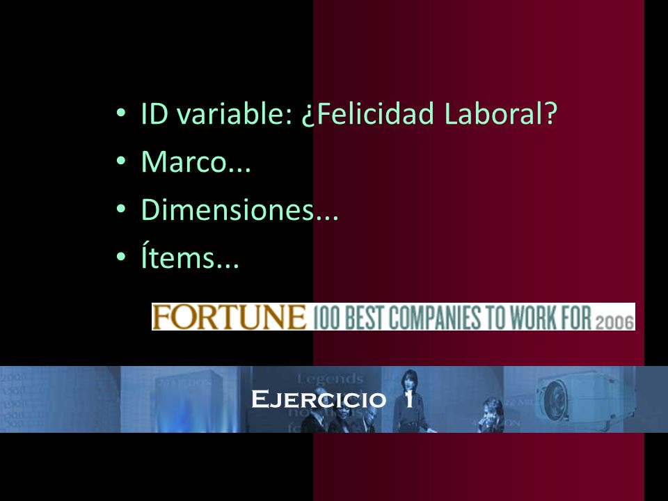 ID variable: ¿Felicidad Laboral Marco... Dimensiones... Ítems...
