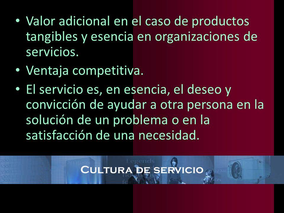 Valor adicional en el caso de productos tangibles y esencia en organizaciones de servicios.