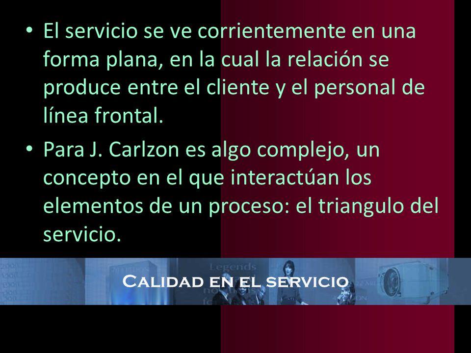 El servicio se ve corrientemente en una forma plana, en la cual la relación se produce entre el cliente y el personal de línea frontal.