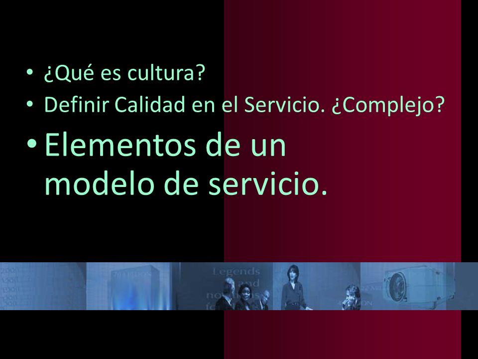 Elementos de un modelo de servicio.