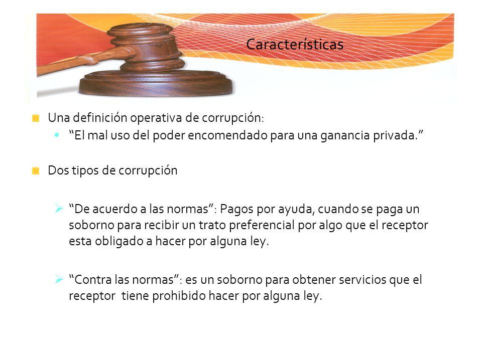 Características Una definición operativa de corrupción: