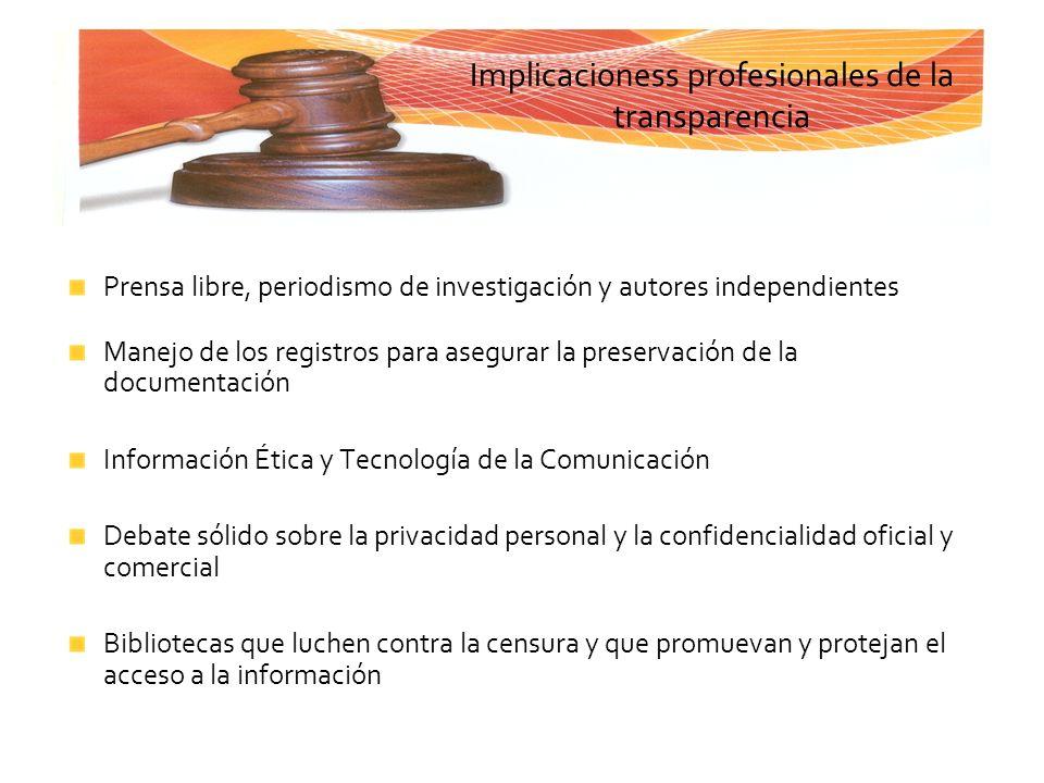 Implicacioness profesionales de la transparencia