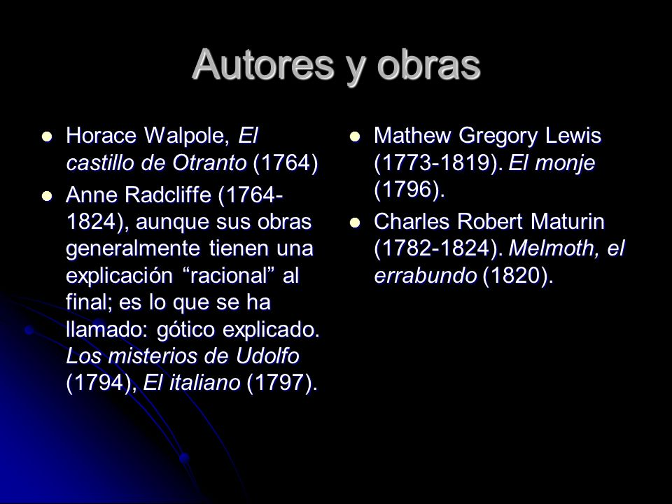 Autores y obras Horace Walpole, El castillo de Otranto (1764)