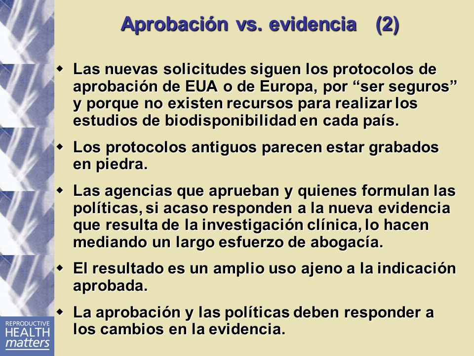 Aprobación vs. evidencia (2)