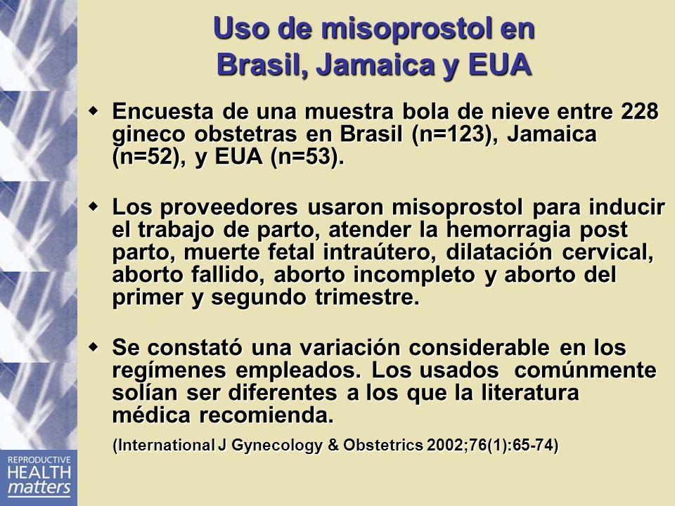Uso de misoprostol en Brasil, Jamaica y EUA