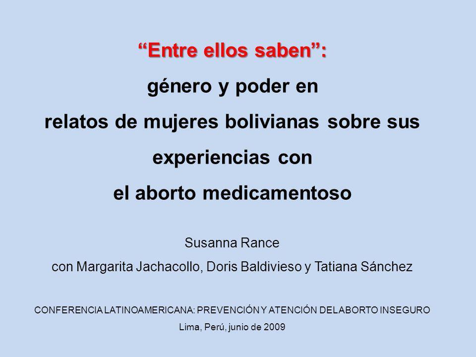 relatos de mujeres bolivianas sobre sus experiencias con