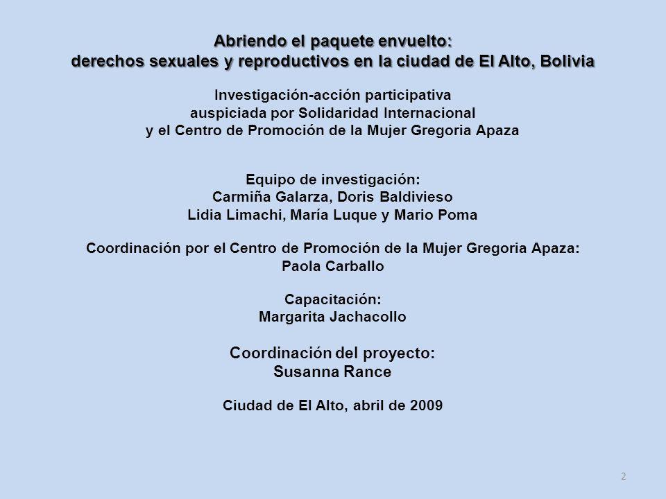 derechos sexuales y reproductivos en la ciudad de El Alto, Bolivia