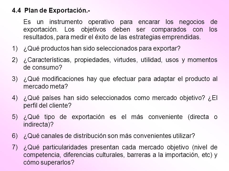 4.4 Plan de Exportación.-